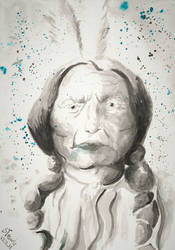 Sitting Bull watercolor by SulaimanDoodle