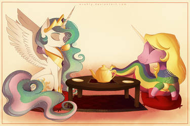 Tea Time with Princess Celestia and Lady Rainicorn by Evehly