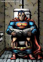 Superman on toilet by Diorgo