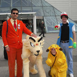 Giovanni, boss of TR with Persian, Ash and Pikachu by TR-Kurt