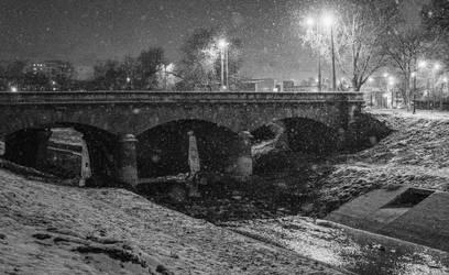 The Stone Bridge under the snow by EnacheArmand