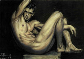 Nude male on chair by bazaroff