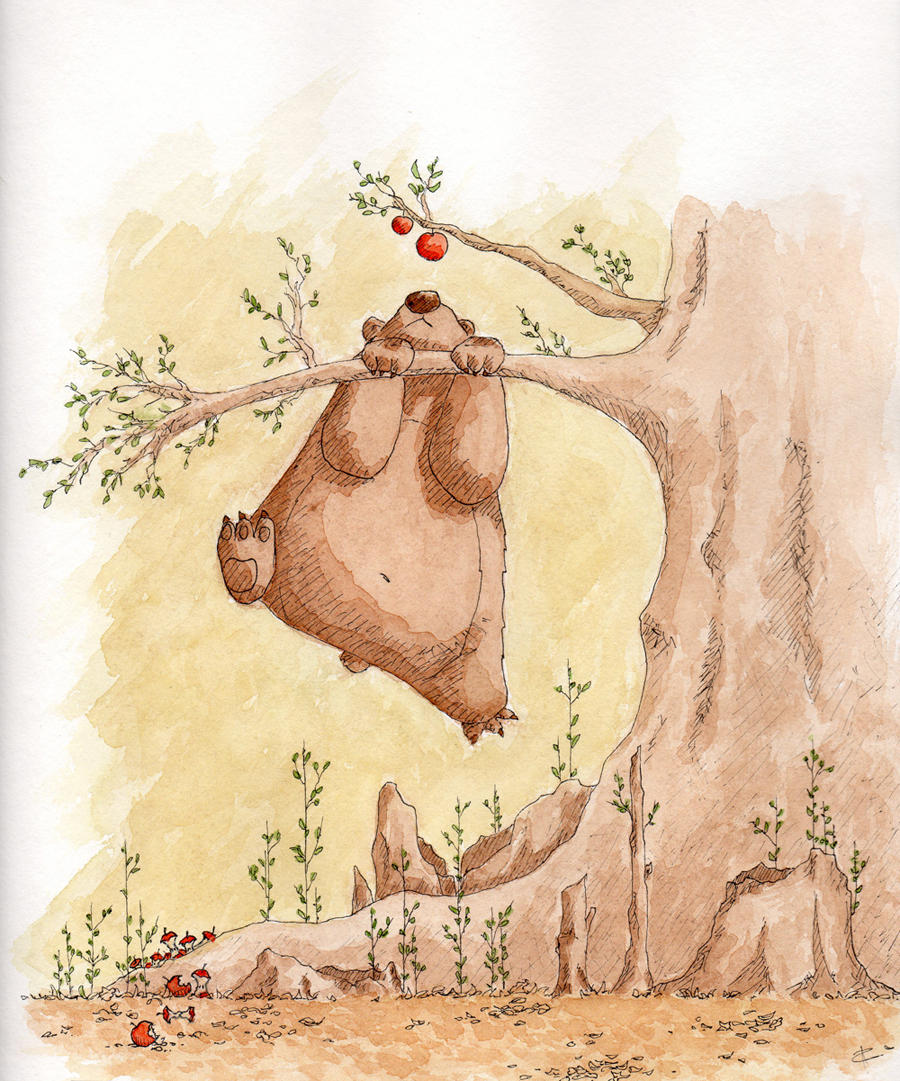 Bear wants apple by Tisseur-de-reves