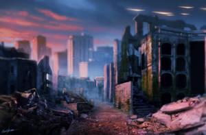Speed paint Destroyed city by SchneeKatze09