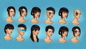 Sci Fi female head concepts by SchneeKatze09