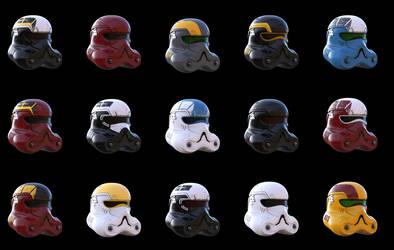 Storm trooper helmet color variants by SchneeKatze09