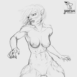 Torso Werewolf Sketch 8-29-17 by Janexas