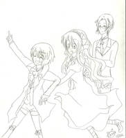 Leader Alois , Kyoko and Claude by KiyaSparleVampire