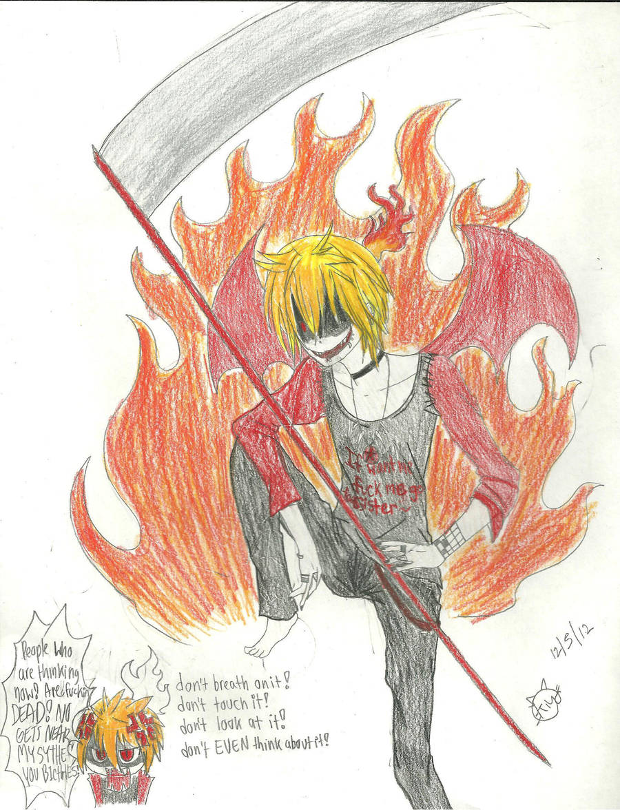 Len has somthing to say about his scythe.. by KiyaSparleVampire