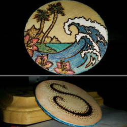 Tropical Tides! Handmade Pyrographed Keychain by FTSArts