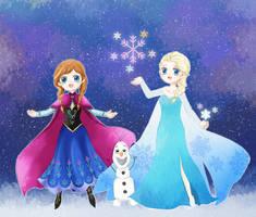 Frozen_ Elsa and Anna by allwellll