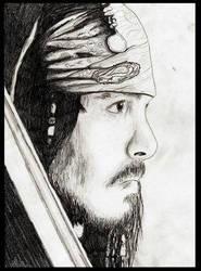 Capt. Jack Sparrow: Curlie-11 by PortraitPencilArt