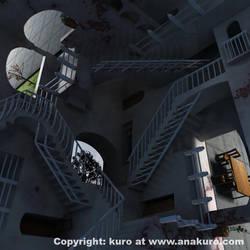 MC escher's Relativity in 3D by Kuro-Mori