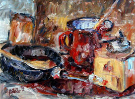 Still Life with a Coffee Mill, a red Pot and a Pan by Art-deWhill