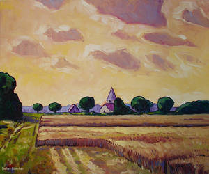 Fields and Chapel by Art-deWhill