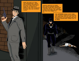 Comic Style Practice - Mobster vs Superhero by PhantomSkyler