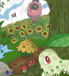 Some Pokemon in a flower field by Teejii