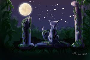 Foxtober Day 5/6: Moonlit Ancient Ruins by steffchep