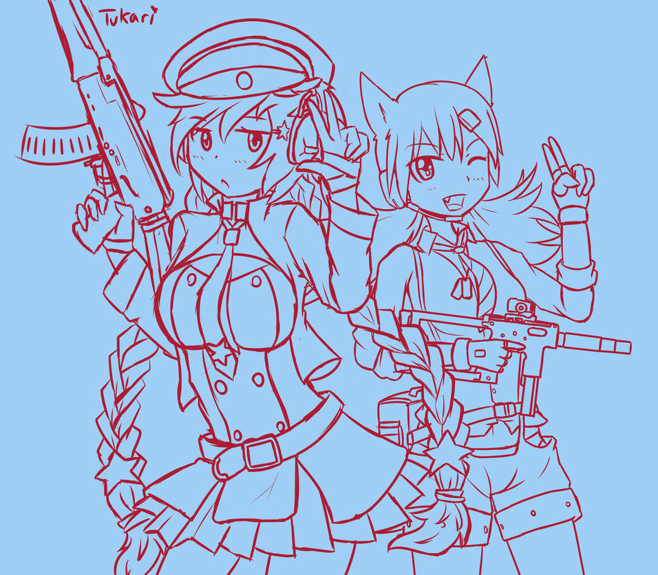Digital Sketch - Girls' Frontline: OTs-12 and IDW by Tukari-G3