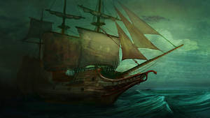 Ship in a storm by Vitaj