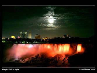 Niagara Falls at night by paullomax
