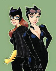Batgirl And Catwoman by taeha