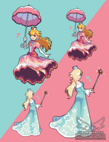 Pixel Peach And Rosalina (6 8 2017) by theskywaker