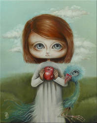 girl, apple and bird by paulee1