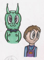 An alien and Jeff by RaynaOfTheDead
