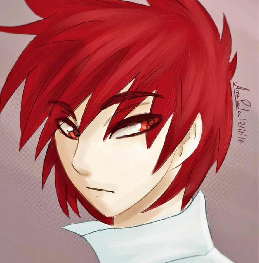 Anime guy with red hair by anastarfall