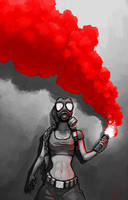 girl in gasmask by mavhn