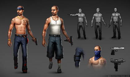 Gang member character style sheet by mavhn