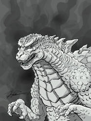 Godzilla in grey green by GinoDrone