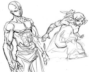 Avatar Aang and Korra by Tristo