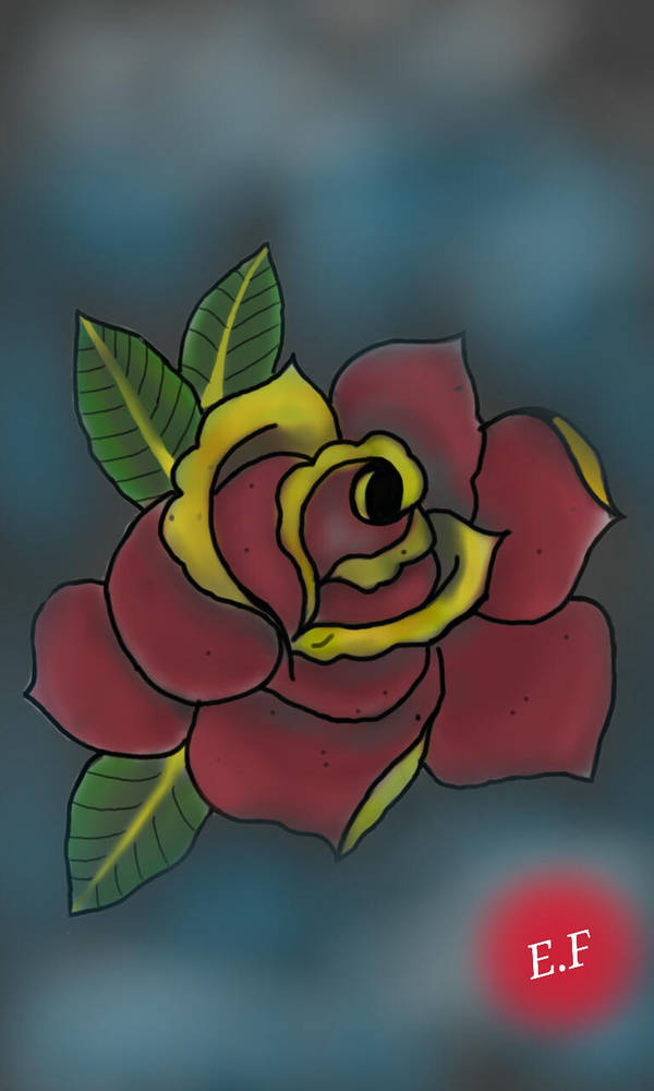 Rosa Old School For Tattoo By Evertonef On Deviantart