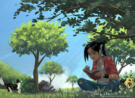 Reading a book in the shadow of a tree by tonton-jojo