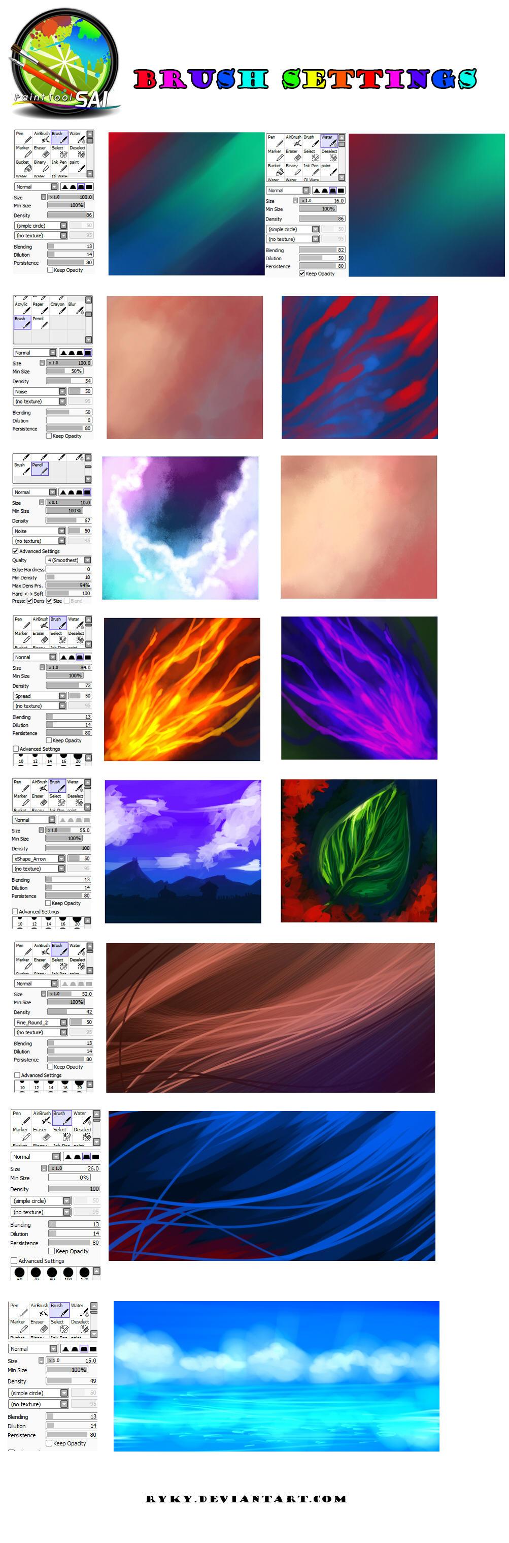 Paint tool SAI - BRUSH SETTINGS by ryky