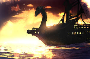 Commision 3 - Dragon ship by ryky