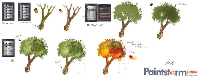 How i paint  - Tree - tutorial by ryky