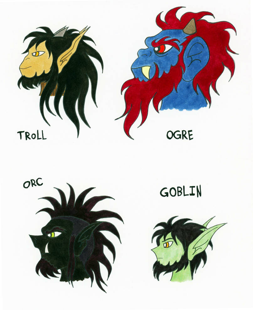 Troll, Ogre, Orc, and Goblin by Jakegothicsnake