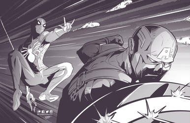 Spidey and Cap by DanielHooker