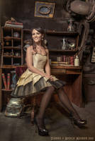 'Petals' cream taffeta corseted dress with tulle by Esaikha