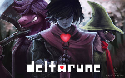 Deltarune - Susie, Ralsei and Kris by EstaArt