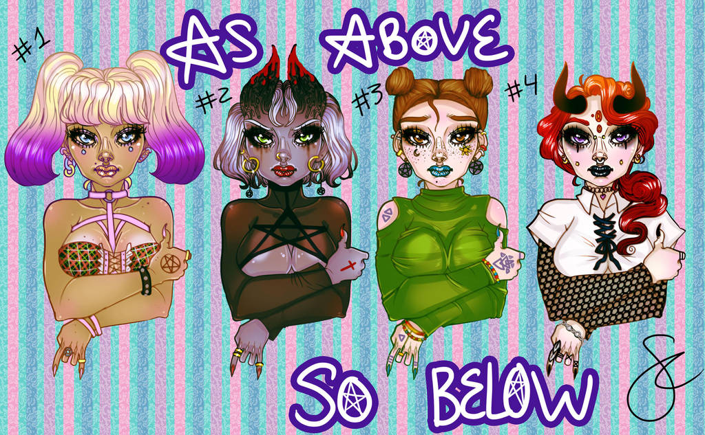 Occult Girl Adoptables! by Sarah--Elizabeth