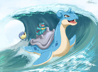 Summer Sketches: Lapras Used Surf by Dapper-Cat