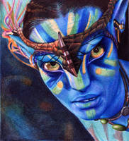 Neytiri from the Na'vi. Avatar.  Bic Ballpoint pen by VianaArts