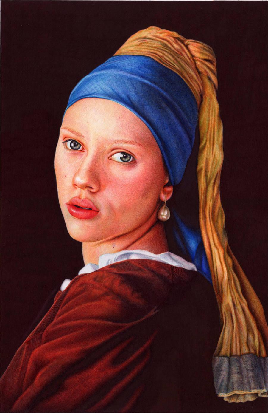 Girl With a Pearl Earring - Ballpoint Pen by VianaArts