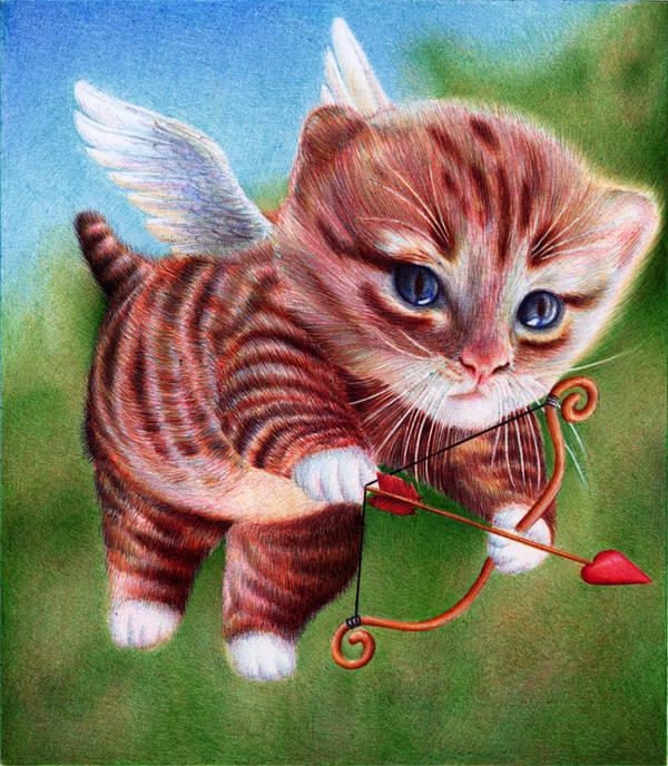 Cupid Kitten Ballpoint Pen St Valentine S Day By Vianaarts On