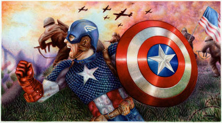 Captain America - Ballpoint Pen by VianaArts