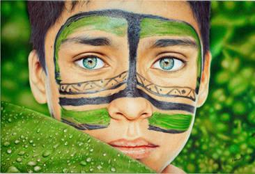 Tribal boy - Ballpoint Pen by VianaArts